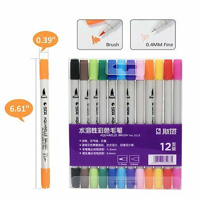 STA 12 Colour Markers Art Pens Soft Brush Art Sketch Coloring Craft FineLiner