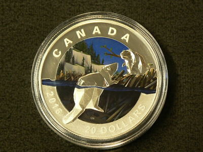 2016 Canada $20 The Beaver Geometry in Art Silver No TAX with CoA #2595
