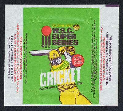 1981 Scanlens Cricket Card Wrapper