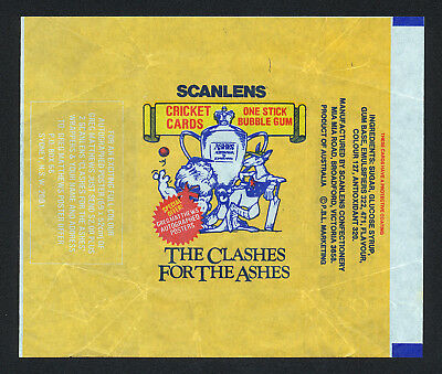 1986 Scanlens The Clashes For The Ashes Cricket Card Wrapper