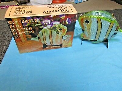 Vintage Plastic Butterfly Fish Plant Planter Office Furniture Toy Lot NIB