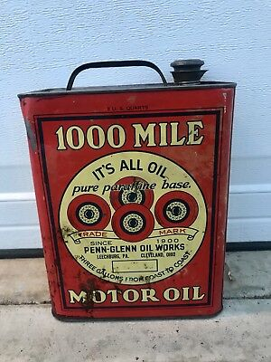 Vintage 1000 MILE MOTOR OIL Can Advertising  Two Gallons Gas Transportation