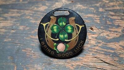 Vintage Celluloid advertising watch fob - I BRING GOOD LUCK