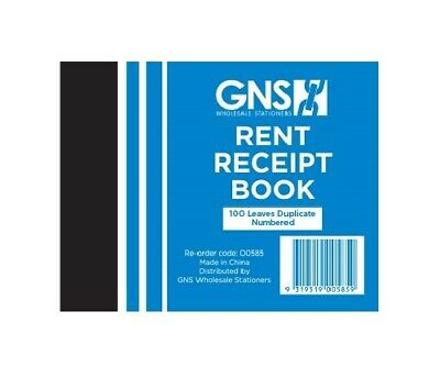 GNS 585 Rent Receipt Book Duplicates 100 Leaf 5 x 4 - 10 Pack