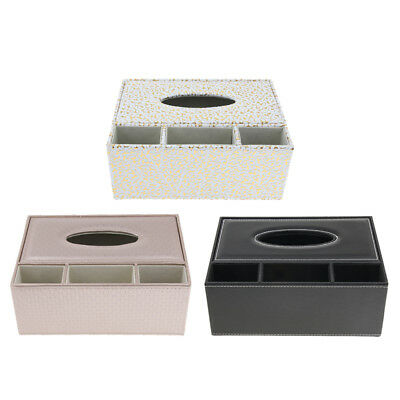 PU Leather Rectangular Tissue Box Cover Napkin Holder Home Tabletop Décor