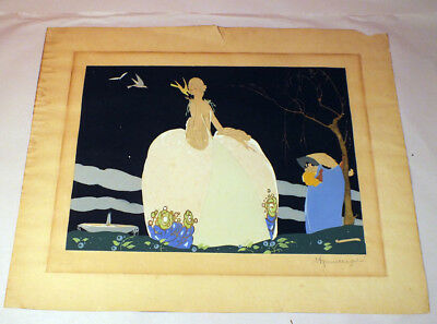 Vintage Umberto Brunelleschi Art Deco Gouache Lithograph Signed Stamped 1920's