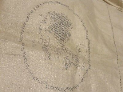 3 Pc Antique Dorothy Bradford Stamped For Embroidery Linen Chairback Set