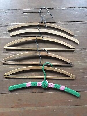 Lot Of Six (6) Vintage Wood Metal And Crochet Clothing Hangers