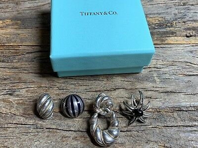 4 Vintage Rare Signed Tiffany & Co. SINGLE Sterling Silver Earrings Lot
