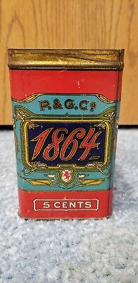 Rare Antique Vintage 1864 P&G Co 5 Cent Cigar Tin Box Store Display Old Tobacco