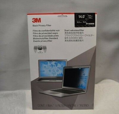 3M  Black Privacy Screen Filter 14.0 (PF140W9B) (New!!!) (unopened)