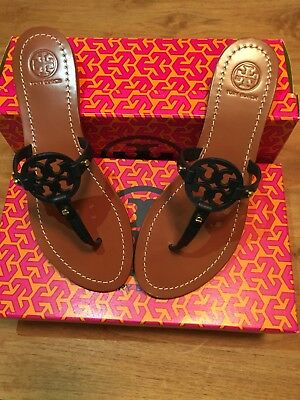 36c4ab9ea606 NWB Tory Burch Mini Miller Veg Leather Thong Sandals Bright Navy 404 Size 8