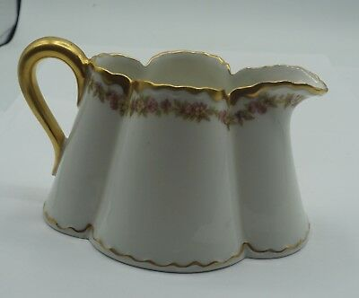 Haviland & Co Limoges Schleiger 524A Small 6 oz Creamer Florals with Gold Trim