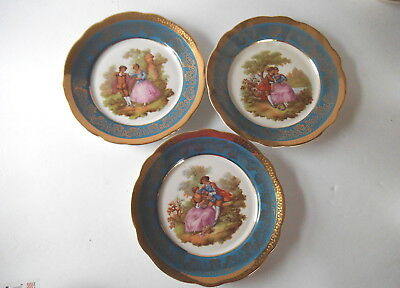 """3 LIMOGES VICTORIAN Collector PLATES 7.5"""""""