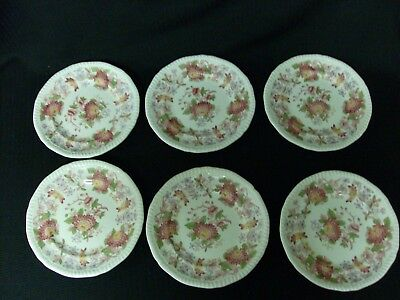 "Copeland Spode Gadroon Bread & Butter Plates Spode's Red Aster 6 1/2"" Set Of 5"