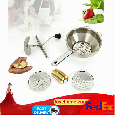 Food Mill Masher Potato Ricer Masher with 3 Milling Discs (2 mm,3 mm,8 mm)