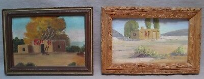 2 Vintage Miniature Southwest Indian Adobe House Paintings, Willard Page Style