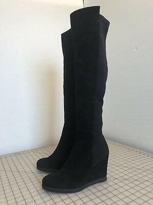 e4cc81dc81a8 STUART WEITZMAN BLACK Suede Thigh High Boots Wedge Size 10 -  495.00 ...