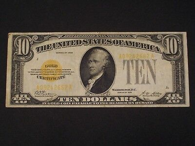 1928 $10 TEN Dollar GOLD Certificate - VF