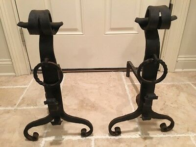 Vintage Wrought Iron Andirons Hand Forged Arts & Crafts Mission Style