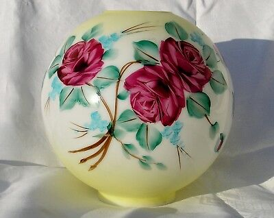 Beautiful Vintage 10 Inch Hand Painted Roses Shade For Gone With The Wind, Gwtw
