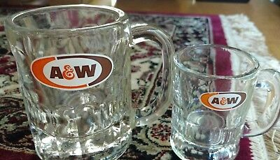 A&W 2 x ROOT BEER GLASSES MUGS CUPS BEVELED VINTAGE 60s? ~ MINTY CONDITION Soda
