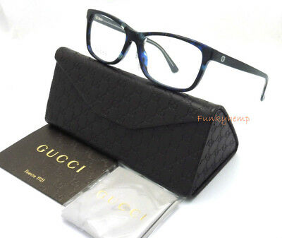 New Authentic GUCCI GG3723 Blue Havana Optical RX Frame 14-52-140 Made In Italy