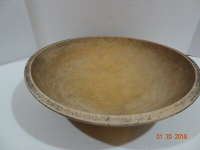 """Vintage Primitive Early 13"""" Oval Birds Eye Maple Wood Wooden Trencher Dough Bowl"""