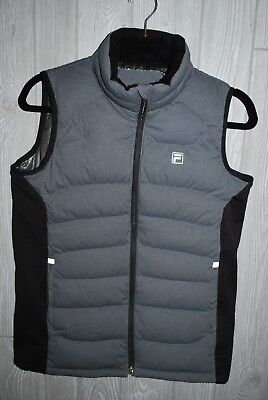 FILA Iconic Force Boys Black Puffer Vest Gray/Black Size Youth Medium ~ EUC