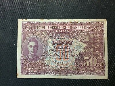 1941 Malaya KGVI Fifty cent Board Of Commissioners of Currency Banknote