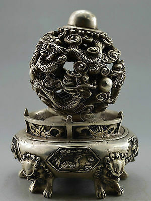 Collectible Decorated  Handwork Tibet Silver Carve Dragon Ball Incense Burner