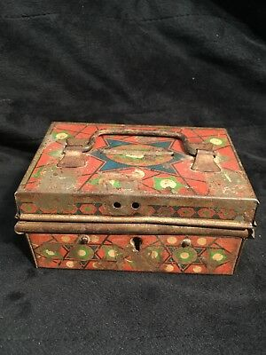 Vintage Tin Lithograph Coin Bank Stamped Made In Czechoslovakia