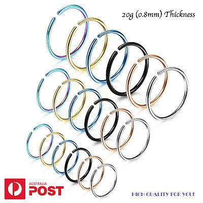 2-8pcs 20G Nose Ring Hoop Cartilage Hoop Septum Piercing Surgical Steel 6-10mm