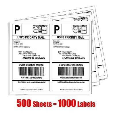 1000 Half Sheet Shipping Labels 8.5 x 5.5 Self Adhesive 2/Sheet For USPS Paypal