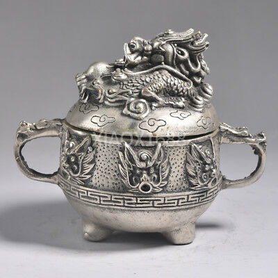 China 's Tibetan silver hand carving faucet incense burner collection 793