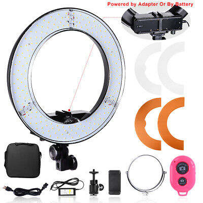 14'' 45W SMD LED 5500K Dimmable Portrait Photo Ring Light with Battery Holder