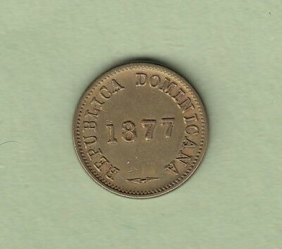 1877 Dominican Republic Centavo Brass Coin - One Year Type -