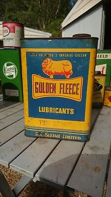 Golden Fleece  two stroke oil tin 1Quart Tin Dog Bone H C Sleigh Full Check Pics