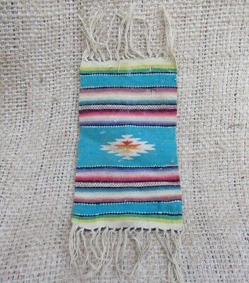 Vintage Southwestern Native American Woven Fringed Geometric Tapestry Textile