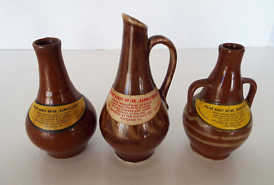 POLISH HONEY DRINK Set of 3 Vintage Stoneware Nips Poland Import Stacole Chicago