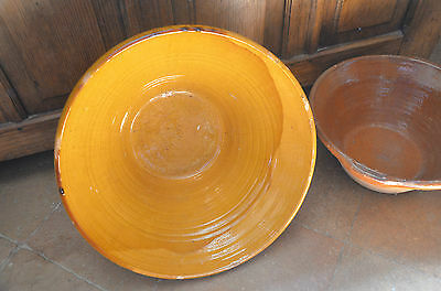 Huge antique yellow ochre pottery, gresale or tian bowl, South West France