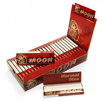 """Moon Red 1.0"""" 25 booklets 70*36mm Cigarette Tobacco Rolling Papers Wood Papers"""