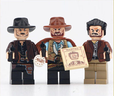 █ Buy █ 3pcs The Good Bad Ugly Cowboy Clint Eastwood Custom Mini Figure WM6026