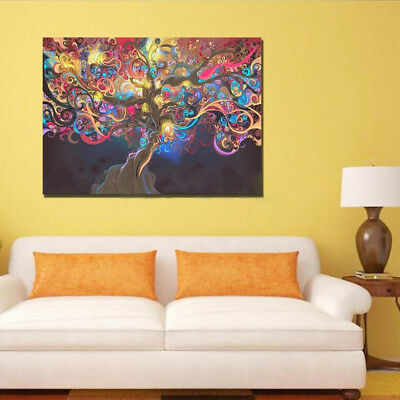 Trippy Art Abstract Decor Hot Psychedelic Sticker Print Silk Poster Tree Home