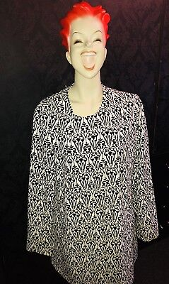 Vintage Retro Damask Print Black And White Coat / Jacket