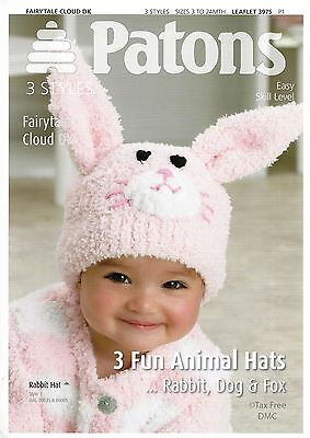 VAT Free Hand Knitting PATTERN ONLY Patons Baby Animal Hats Rabbit Dog Fox 3975