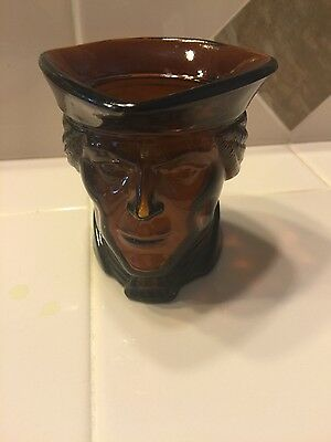 Paul Revere? patriot head brown glass candle holder from avon