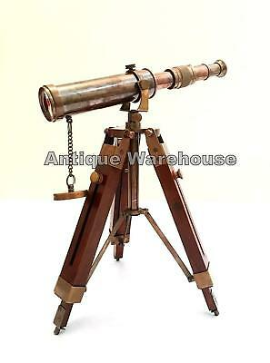 Nautical Scope Pirate Spyglass Brass Telescope With Wooden Tripod Decor New Gift