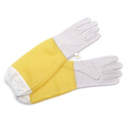 PROTECTICE LEATHER GLOVES BEEComb | white/yellow, size XL | beekeeping gloves