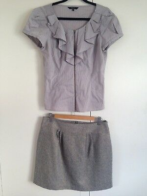 CUE Size 10 Pieces Skirt Top Wool Cotton Work Career Outfit Designer